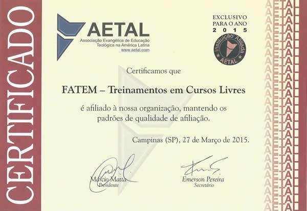 Certificado AETAL - FATEM