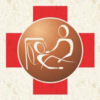 Ilustração de pessoa acamada sendo cuidada sobre cruz vermelha