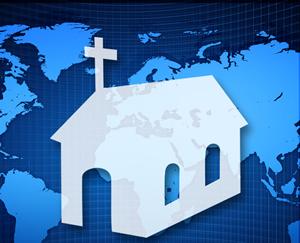 Desenho de igreja sobre mapa mundi