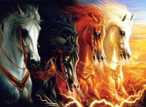 Quatro cavalos - um branco, um preto, um vermelho e outro amarelo