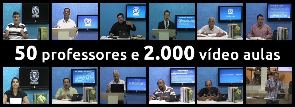Capturas de telas de vídeo aulas com diversos professores e a inscrição 50 professores e 2.000 vídeo aulas