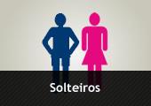 SIlhueta masculina e silhueta feminina - com a inscrição Solteiros
